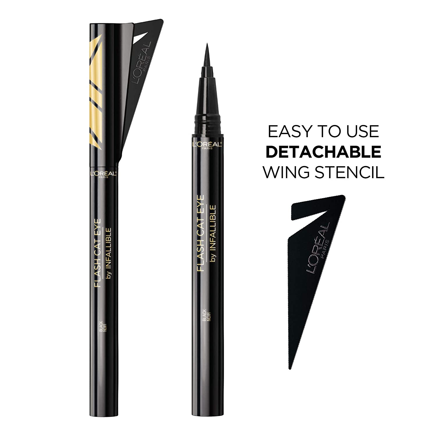 L'Oreal Paris Makeup Flash Cat Eye by Infallible, Waterproof Liquid Eyeliner, Easy-To-Use Brush Tip, Detachable Stencil for Winged Eyeliner, Precise Cat Eyes in a Flash, Black, 0.02 fl. oz.