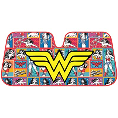 Wonder Woman Retro Logo DC Comics Official Licensed Front Windshield Sun Shade-Accordion Folding Auto Sunshade for Car Truck SUV-Blocks UV Rays Sun Visor Protector-Keep Your Vehicle Cool- 58 x 27 Inch: Automotive