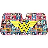 BDK Wonder Woman Auto Sun Shade - Windshield Car Sunshade - Yellow Logo w/Retro Cartoon Background