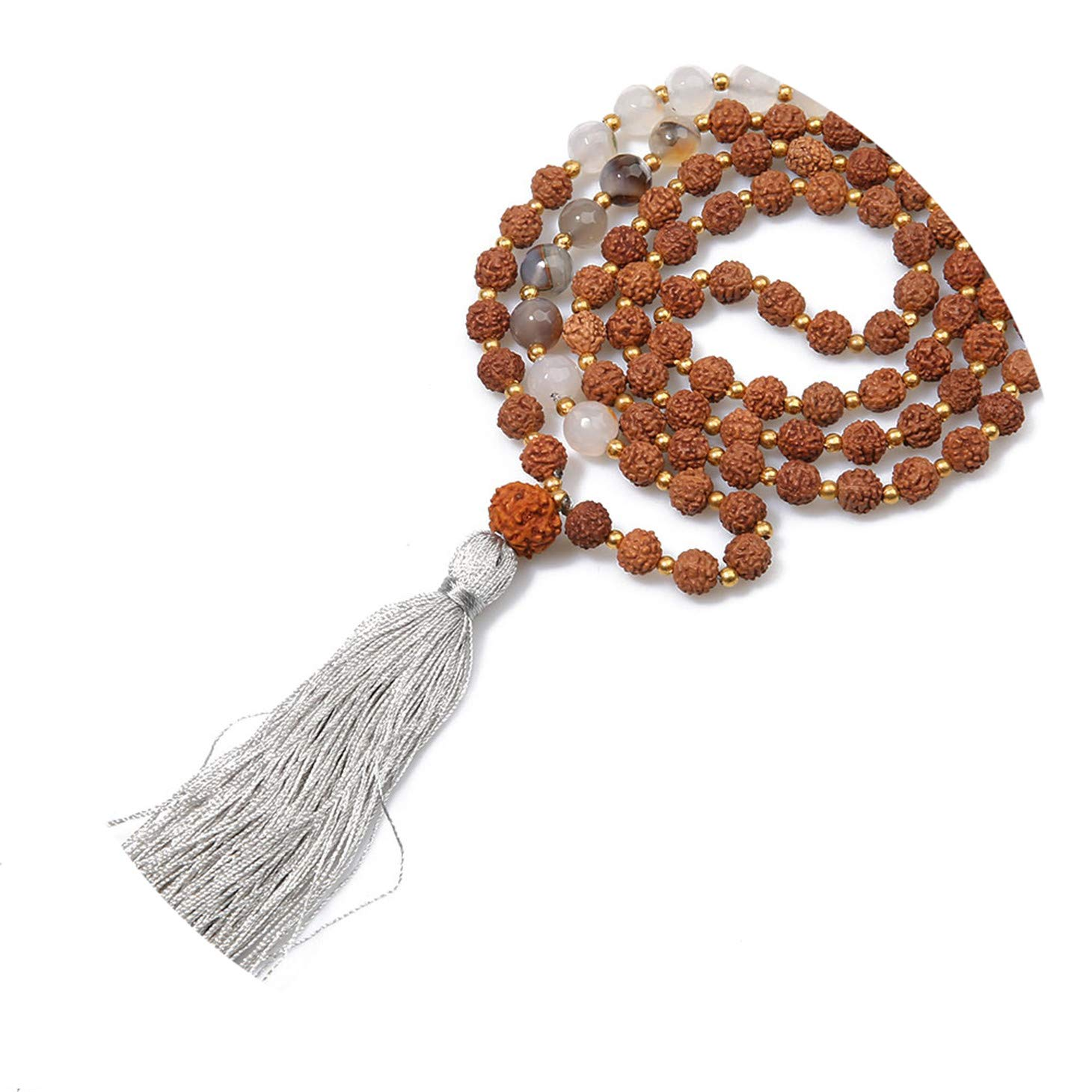Olive Tayl Handmade Rudraksha Beads Ethnic Necklace Natural Stone Tassel Pray Meditation Necklace Women C