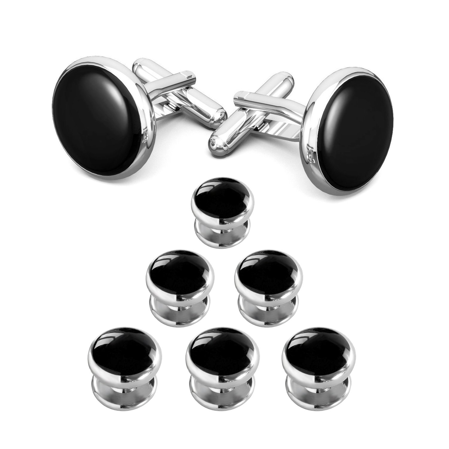 LIEBLICH Mens Black Round Tuxedo Shirts Cufflinks Button Studs Set Ideal Jewelry Gift Men (Style 1) NE008-P