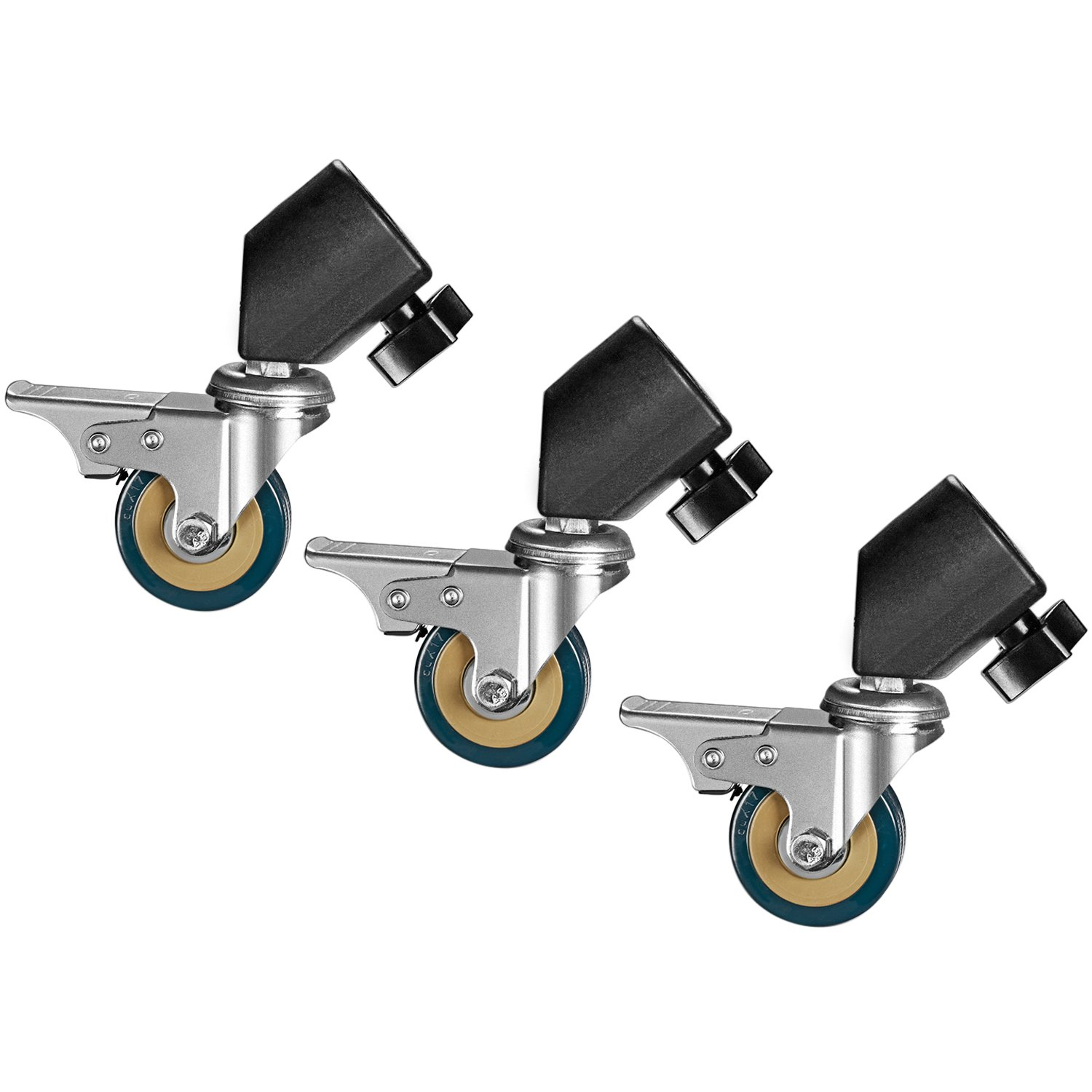 Neewer 6 Packs Professional Swivel Caster Wheel Set - Durable Metal Construction with Rubber Base for Light Stand with 16-22mm Diameter Leg, Suitable for Studio Video Photography 90091085