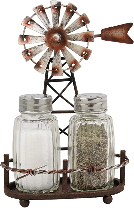 Rustic Grey Barn Roof Spinning Chicken Wire Utensil and Flatware Holder