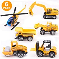 Childom Engineering Vehicle Toys Set Alloy Construction Big Forklift,Single Drum Roller,Stacker/Crane,Helicopter,Excavator,Heavy Duty Truck, Construction Traffic Sign Mini Toy Set for Kids Boys Girl