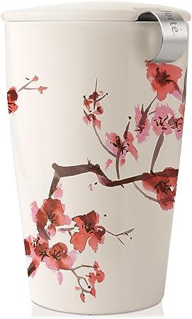 Tea Forte Kati Cup Infusor de t/é de cer/ámica con infusor y tapa para infusi/ón azul.