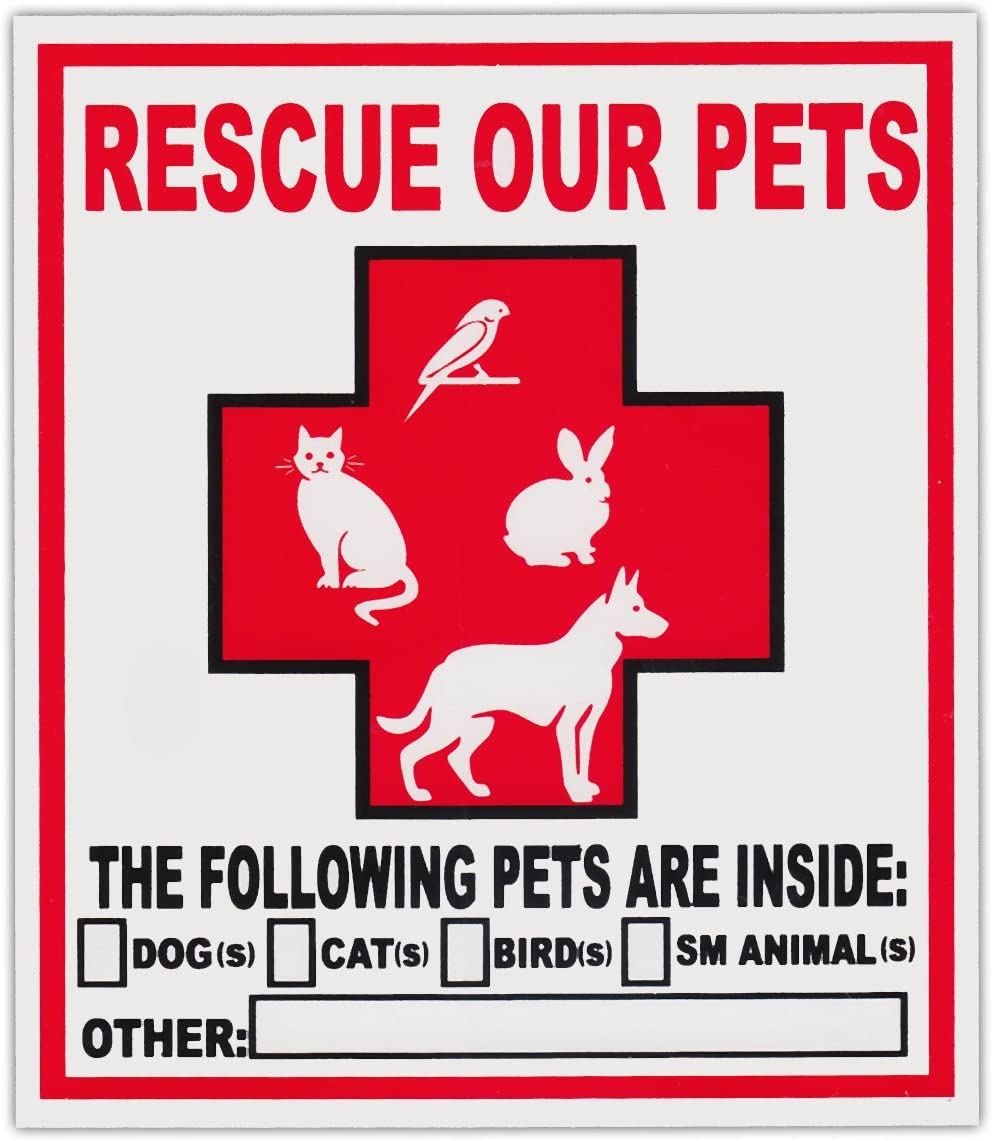 2-Pack Pet Rescue Window Stickers Decals   Alert To Fire Department Dogs Cats