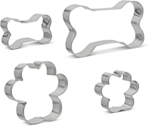 Dog Bone And Dog Paw Cookie Cutter Set of 4 - Stainless Steel Professional Quality For Dog Biscuit Treats And Cookies - Multi Purpose Kitchen Tool - Dishwasher and Oven Safe