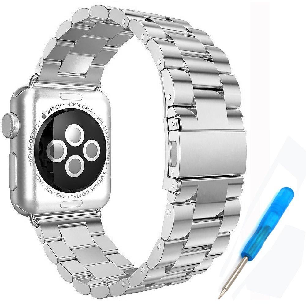 WOODLN for Apple Watchステンレススチールブレスレット交換用ストラップバンド手首バンドストラップfor Apple Watch Sport & Edition 42 mm / 38 mm B01N6G41AC Silver 42MM Silver 42MM