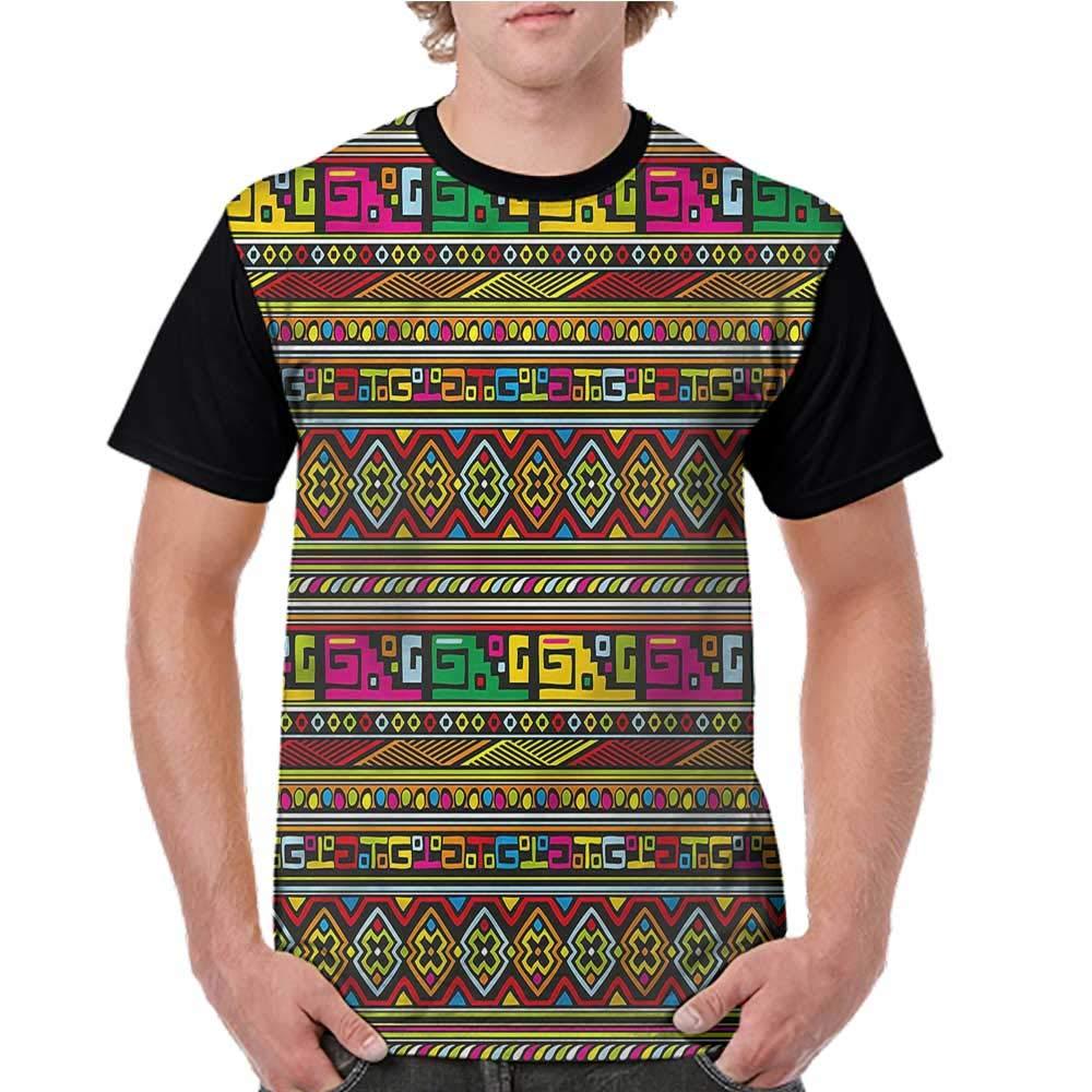 Printed Short Sleeves,Tribal,Colorful African Borders S-XXL Baseball T-Shirt Tee Tops