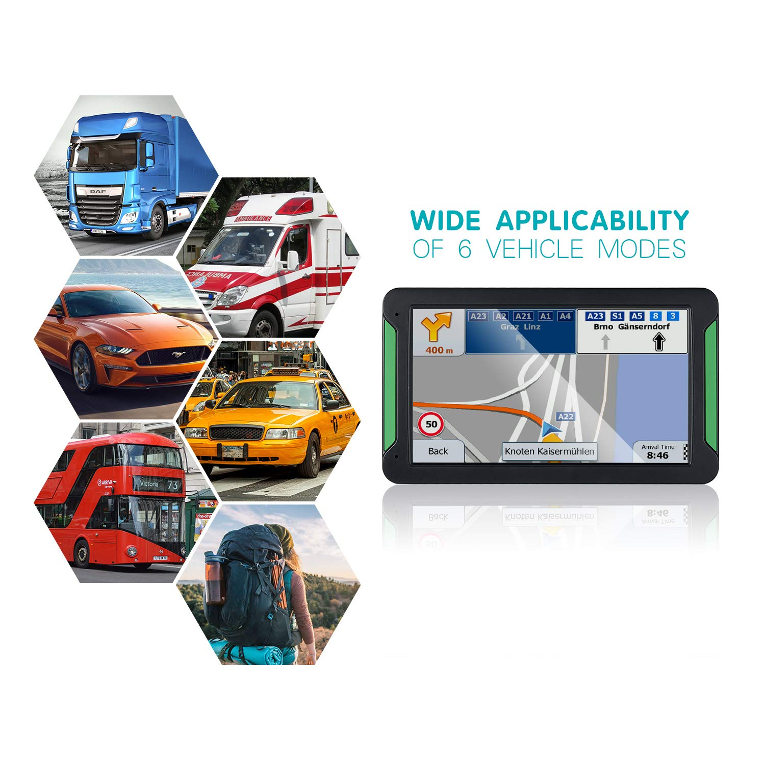to-Turn Traffic Alert 7 inch Built-in 8GB GPS Navigator with Sun ...