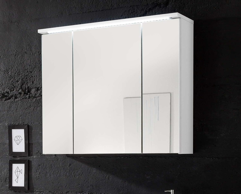 Avanti Trendstore - Silas - Spiegelschrank mit 3 Türen und LED-Beleuchtung, in weiß Hochglanz matt Dekor, BHT ca. 80x68x23 cm