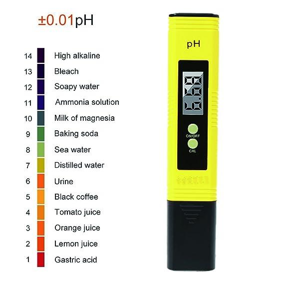 Medidor Digital de Ph, 0.01 Medidor de Calidad de Agua de Bolsillo de Resolución para Agua Potable doméstica, Hidroponía, acuarios, Piscinas: Amazon.es: ...