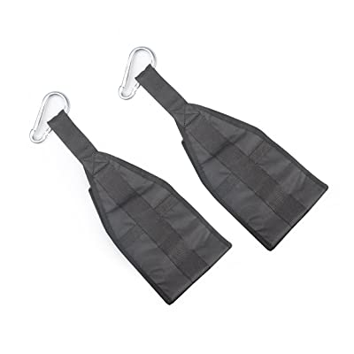 1 Pair Gym Fitness Abdominal Straps with Quick Locks, Pull-up Fitness Workout nylon black, by LC Prime