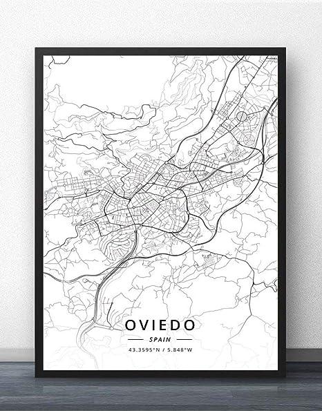 ZWXDMY Impresión De Lienzo,España Oviedo Ciudad Mapa Texto Minimalista En Blanco Y Negro Lienzo Impresión Abstracta Pintura De Carteles Murales Oficina De Estudio Decoracion,70×100Cm.: Amazon.es: Hogar