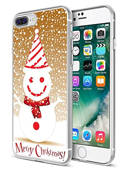 super popular fef37 46fe5 for iPhone 8 Plus/7 Plus Case Merry Christmas,Ecute Soft Slim Clear Rubber  Side + Style Hard Back Case Compatible with iPhone 8 Plus(2017) and iPhone  ...