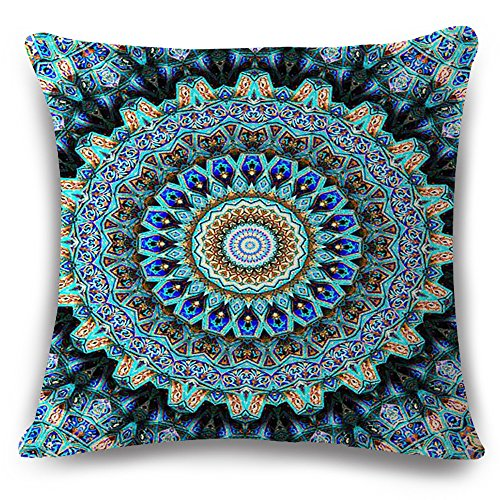 (European Colorful Retro Floral Compass Medallion Blue Turquoise Cotton Linen Home Throw Pillow Case Personalized Cushion Cover NEW Home Office Decorative Moroccan Style Square 18 X 18 Inches)