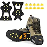 EONPOW Ice Grips, Ice & Snow Grips Cleat Over Shoe/Boot Traction Cleat Rubber Spikes Anti Slip 10 Steel Studs Crampons Slip-on Stretch Footwear(Extra 10 Studs)