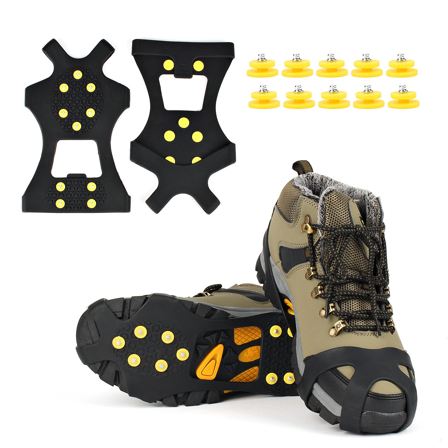 Ice Grips, EONPOW Ice and Snow Grips Cleat Over Shoe/Boot Traction Cleat Rubber Spikes Anti Slip 10 Steel Studs Crampons Slip-on Stretch Footwear AUTOXON