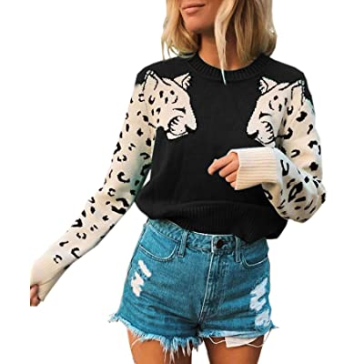Angashion Women's Sweaters Casual Leopard Printed Patchwork Long Sleeves Knitted Pullover Cropped Sweater Tops at Women's Clothing store