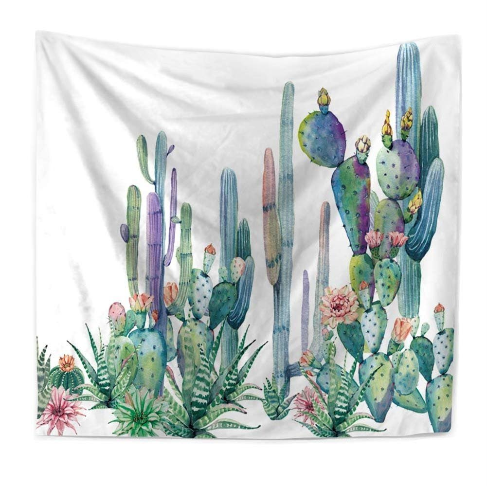 Cactus Decor Tapestry Wall Hanging Decor Art Home Decor, Yellow and Green Watercolor Printed Bedroom Living Room Dorm Wall Hanging Tapestry Beach Throw/Table Runner/Cloth(GT11-C-6)(W:59''H:51'')