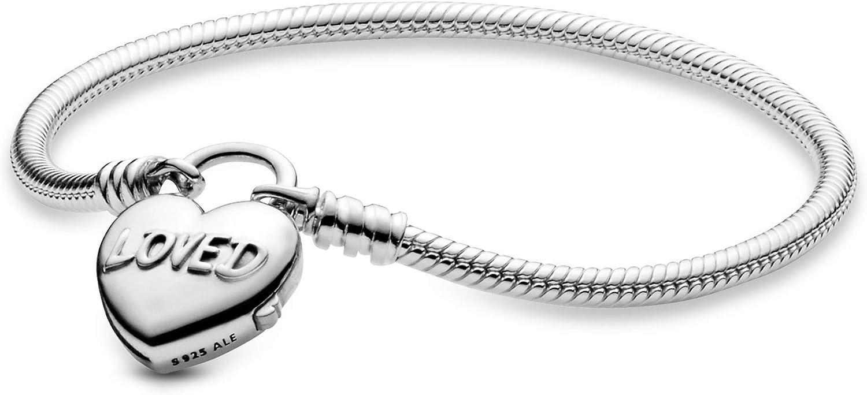 Pandora Jewelry Moments Heart Padlock Clasp Snake Chain Sterling Silver  Bracelet, 6.7