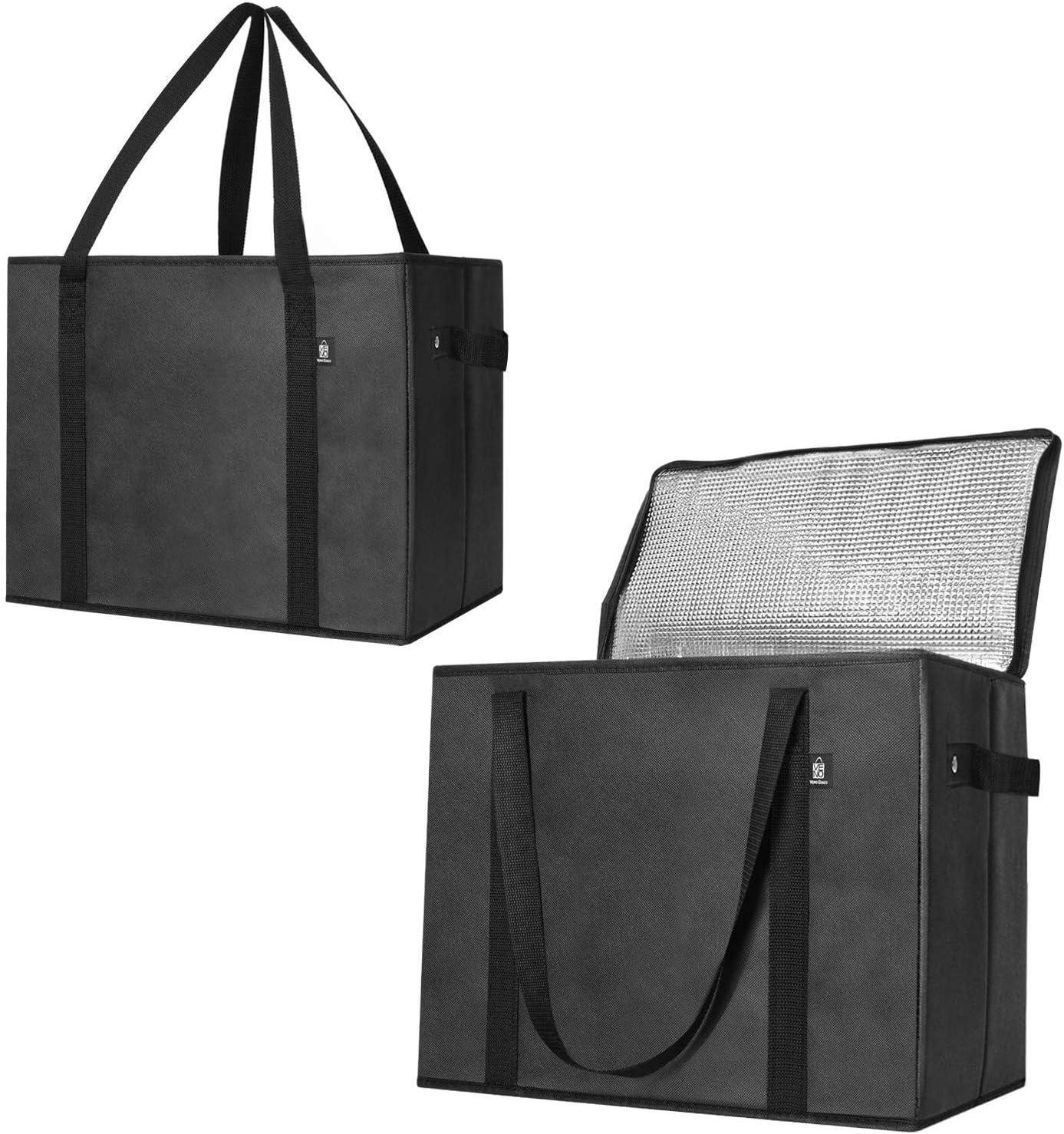2 sacs de courses pliables avec fermeture /Éclair et fond renforc/é Mat/ériau recycl/é Veno Lot de 2 sacs de courses isothermes r/éutilisables