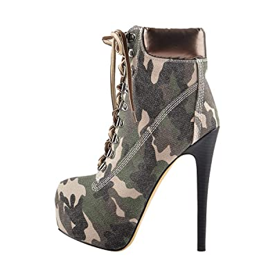Onlymaker Women's Rivet Studded Platform High Heel Pointed Toe Lace Up Ankle Boots Dark Camouflage 7 M US | Ankle & Bootie