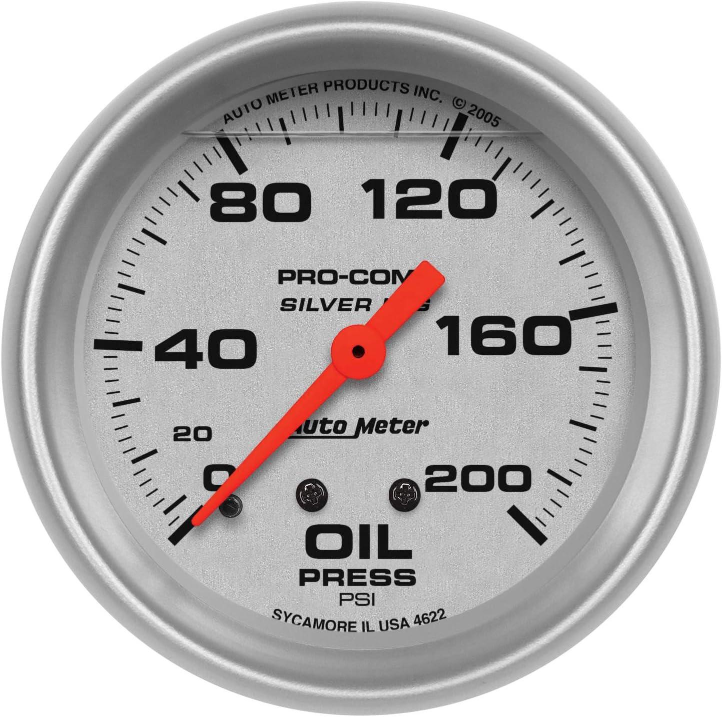 Auto Meter 4622 Silver LFGs Oil Pressure Gauge