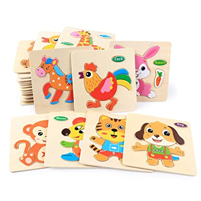 Fun Puzzle Cartoon Colorful Kids Wooden 3D Puzzles Toys Animals Picture Early Education Jigsaw Baby Intelligence Development Toys,-Random-: Toys & Games