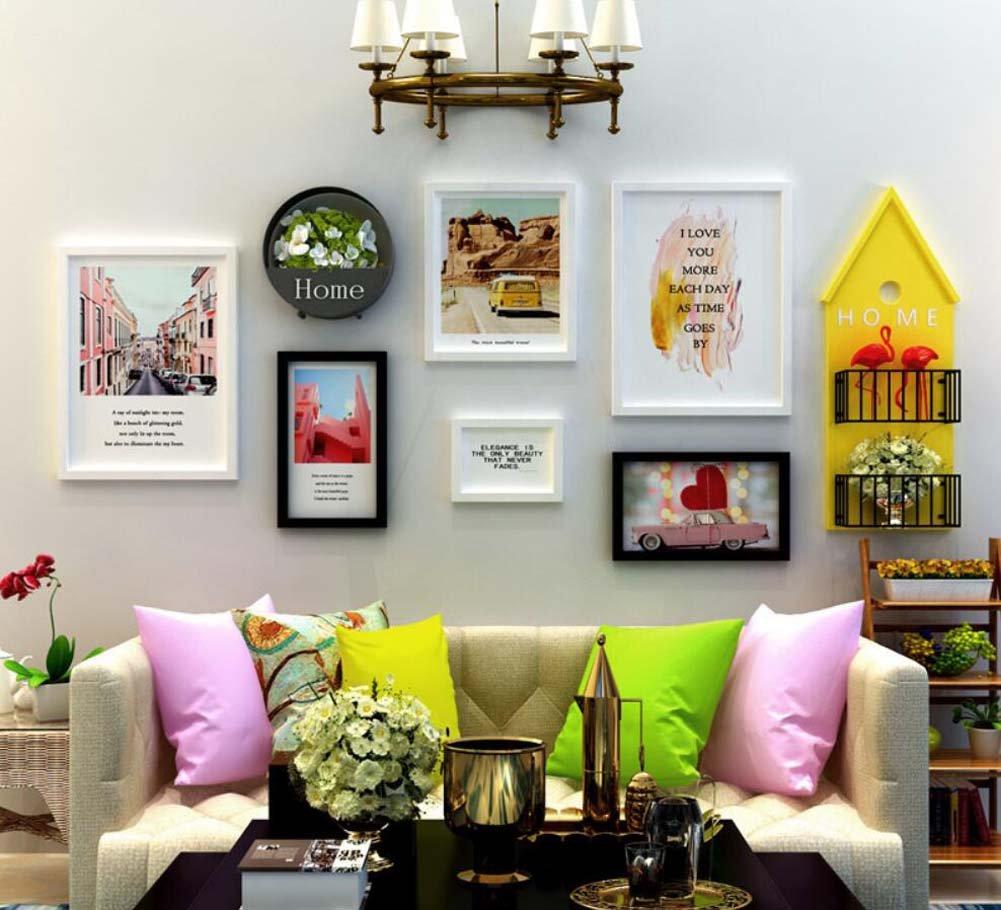 6絵画壁の壁の装飾壁の組み合わせ、テレビの壁壁掛けの絵画の組み合わせ装飾的な絵画、独創的な壁掛けの木製のフレーム、ラック+アイアンフラワーバスケット(装飾なし)   B07H2RPFFL