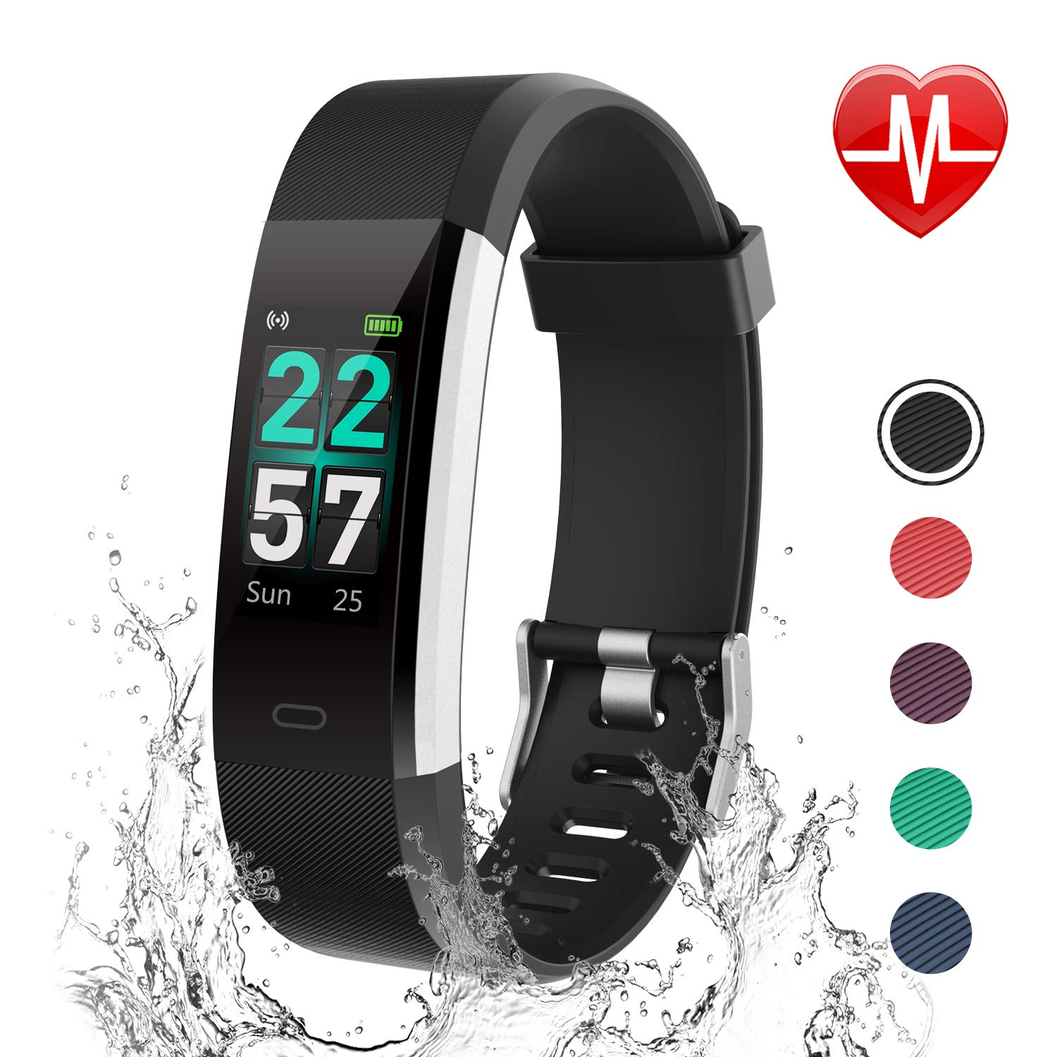 LETSCOM Fitness Tracker HR, Activity Tracker Watch with Heart Rate Monitor,  Waterproof Smart Bracelet with Step Counter, Calorie Counter, Pedometer