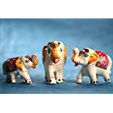 DreamKraft Set of 3 White Elephant Idol & Showpiece For Home Decor And Gift Purpose