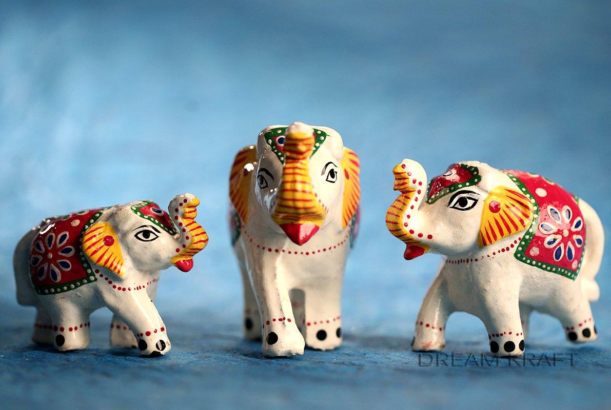 Buy DreamKraft Set of 3 White Elephant Idol & Showpiece For Home ...
