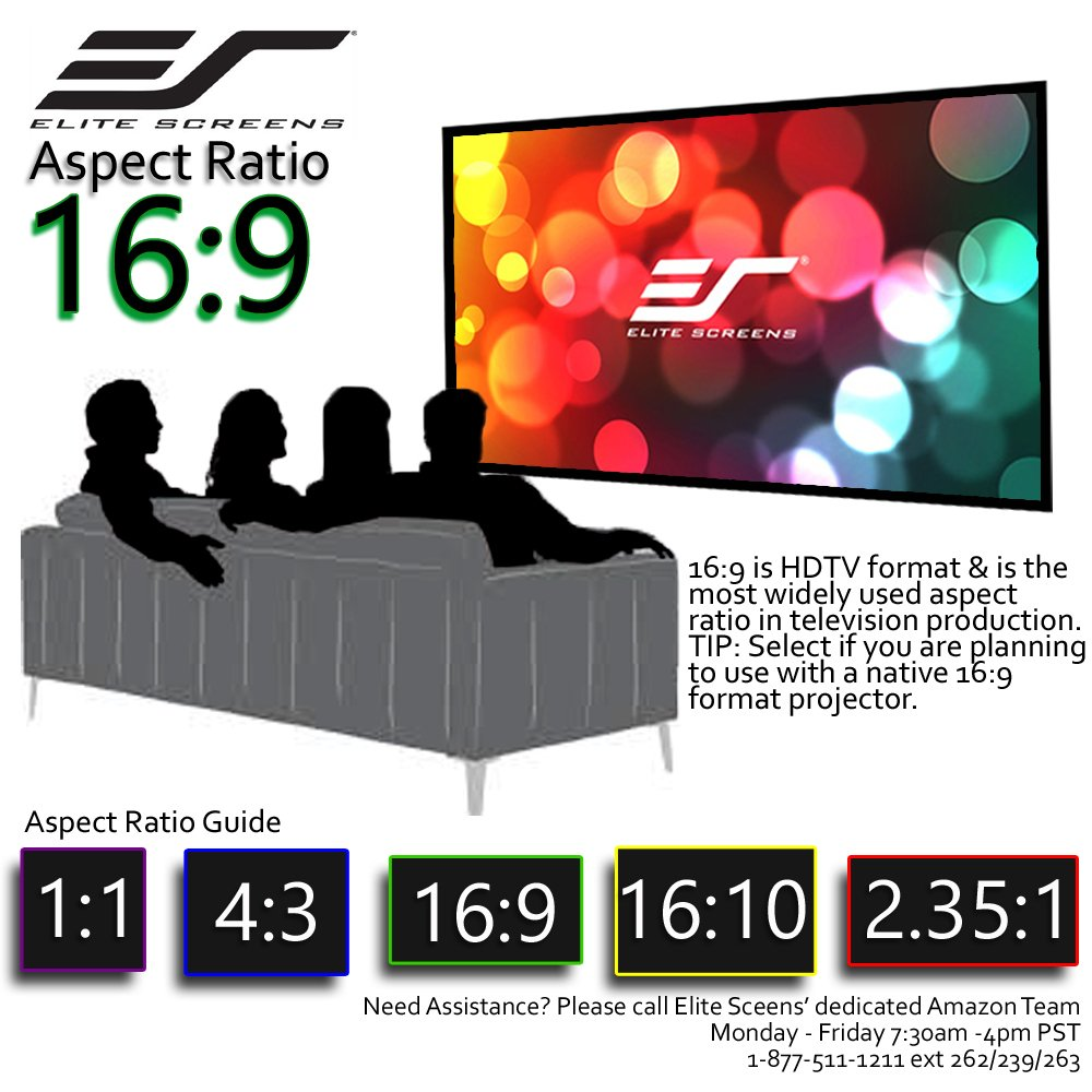8K // 4K Ultra HD 3D Ready Fixed Frame Home Movie Theater Projector//Projection Screen 120-INCH 16:9 SF120HW2 Elite Screens Star Frame Series
