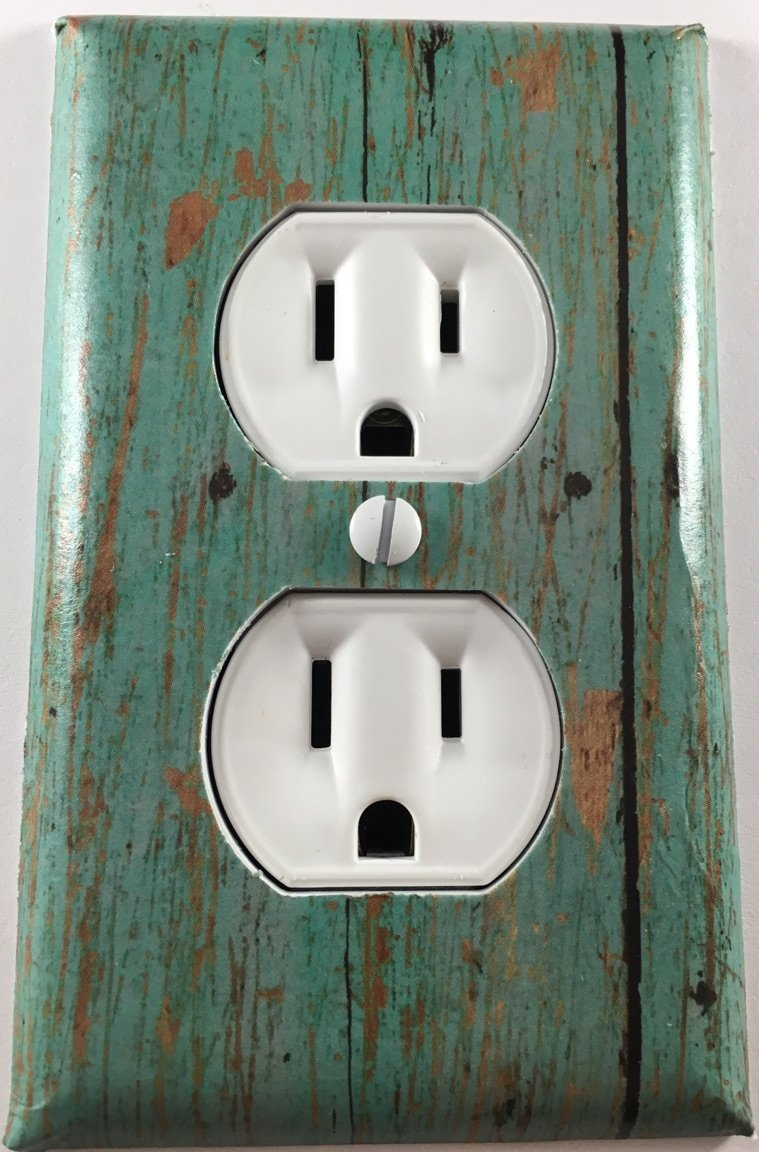 Distressed Turquoise Wood Fence Decorative Outlet Plate Cover Wall Plate