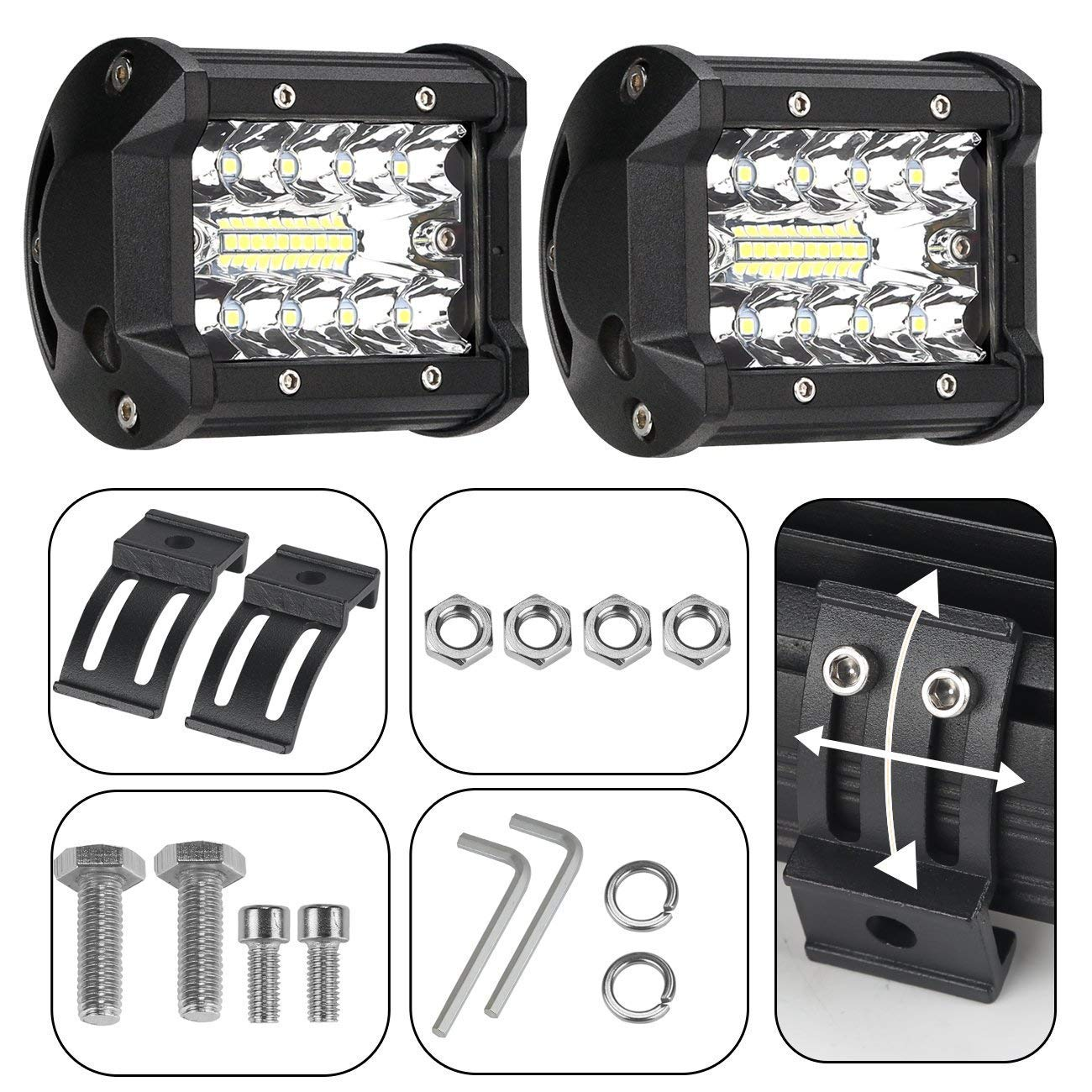 TALMYT LED Light Bar Off Road Lights, 2pc 120w 12v Led Spotlight 12000lm Boat Lights Truck Lights Motorcycle Lights Waterproof Lights Mounting Brackets SUV,Marine,4 inch,White,2 Years Warranty