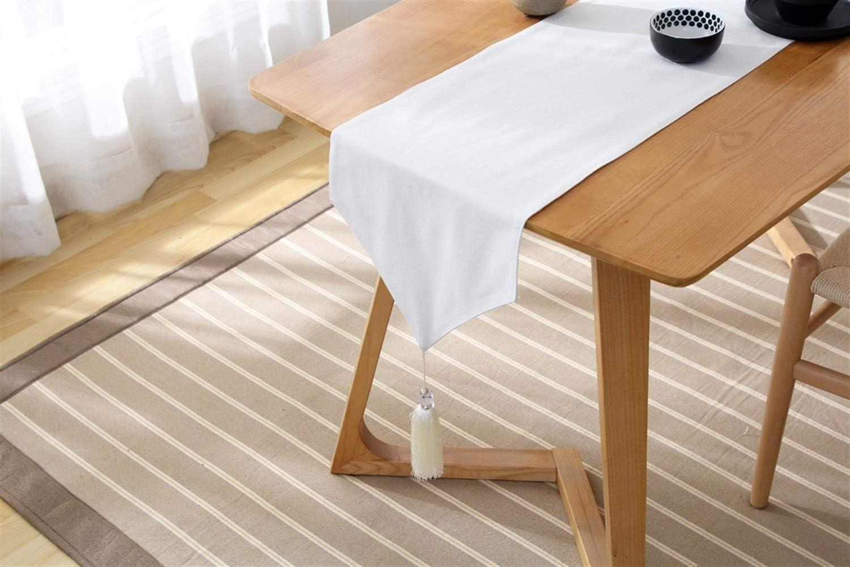 d/îner 33X80cm Nologo Chemin de table /à rayures avec pompons pour d/écoration de salle /à manger pour mariage blanc et noir blanc f/ête