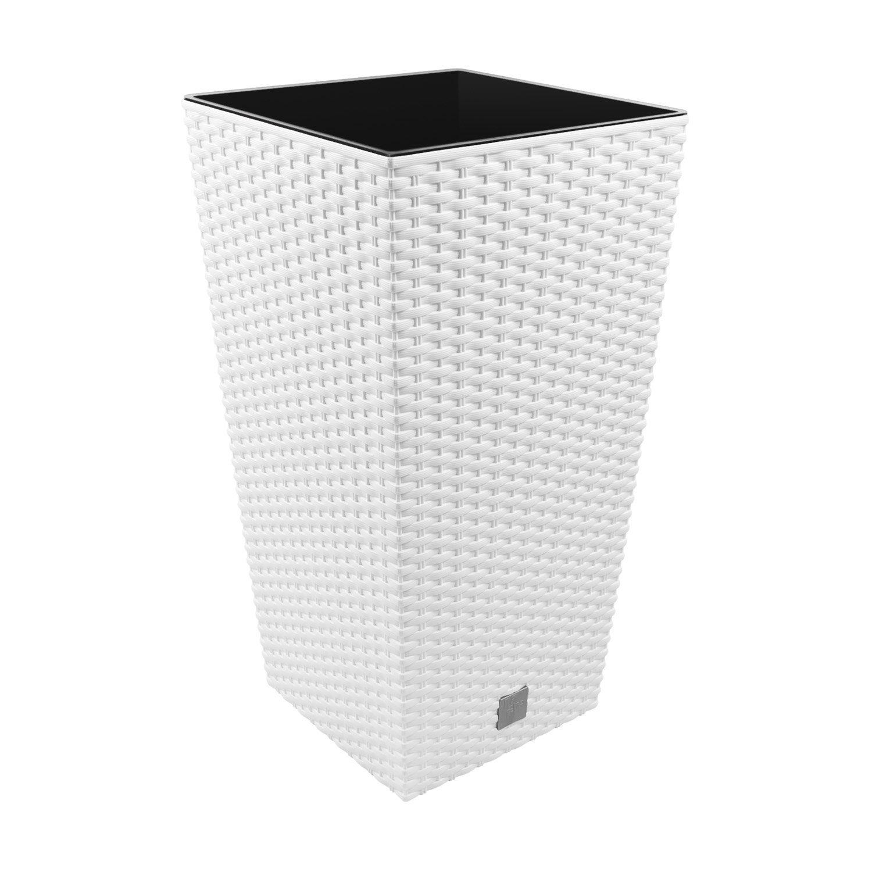 Vaso per piante Rato Square Simil Rattan 49L Largo 320 mm Con Inserto colore: Bianco Prosperplast DRTS325-S449