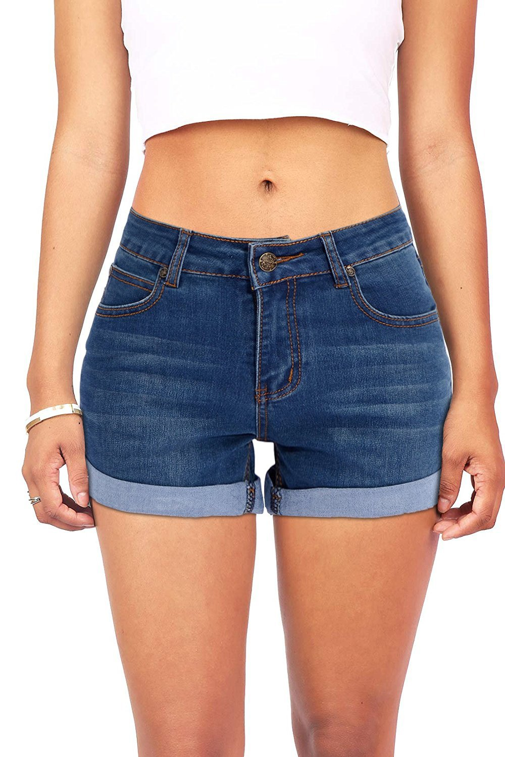 VEAWLL Women's Basic Stretched Mid-Rise Denim Shorts with Pockets (S,Dark Denim)