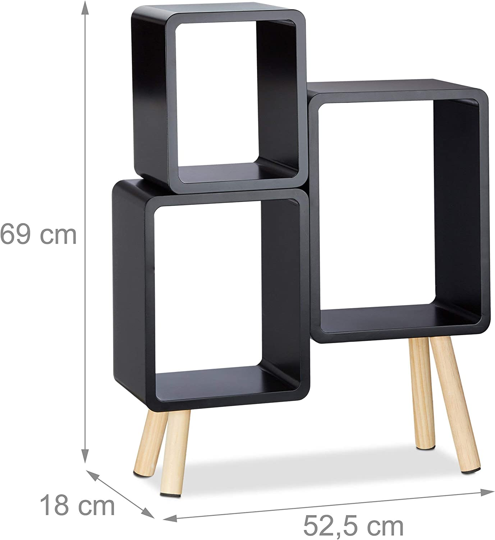 4 Gambe HxLxP: 69x52,5x18 cm Bianco Legno MDF Relaxdays 10021924/_49 Scaffale 3 Scomparti a Forma di Cubo