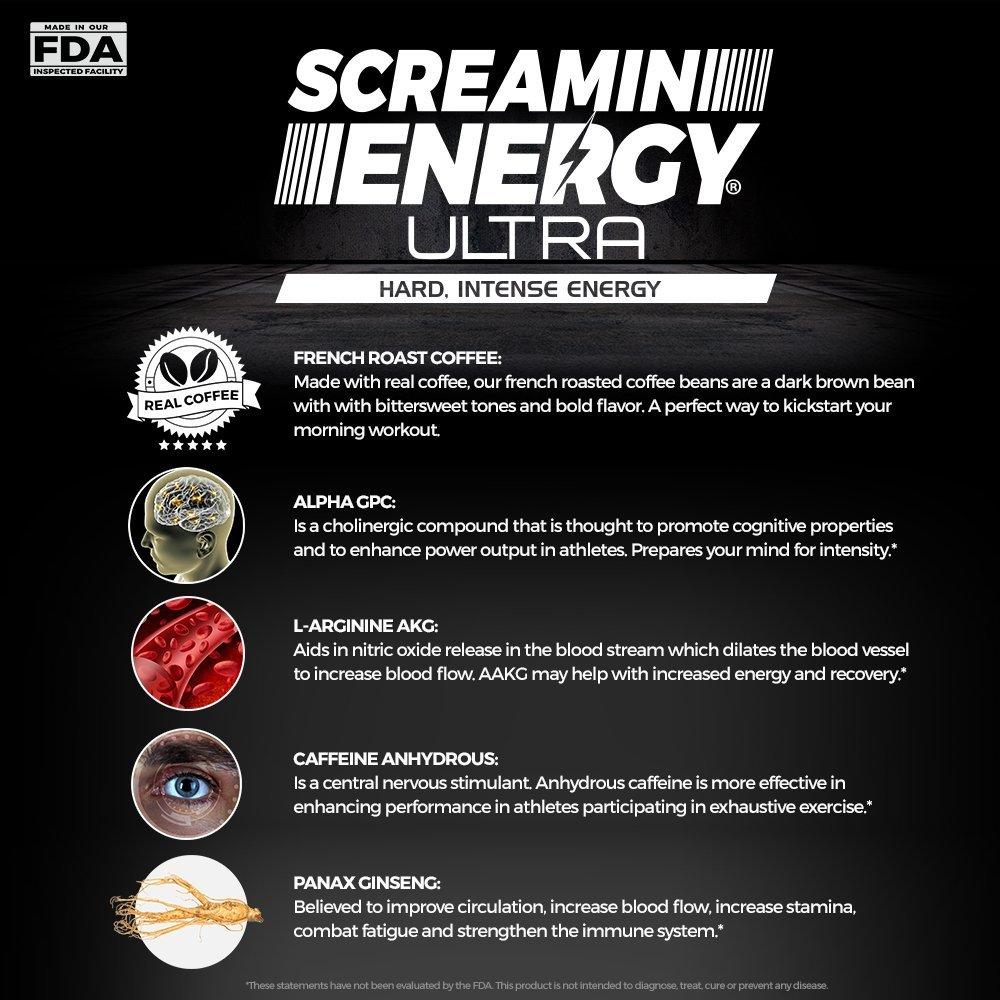 Amazon Com Screamin Energy Ultra Pre Workout Energy Shot French
