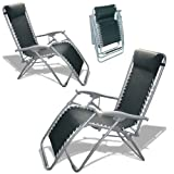 Set of 2 - Textoline Reclining Garden Chairs, Black