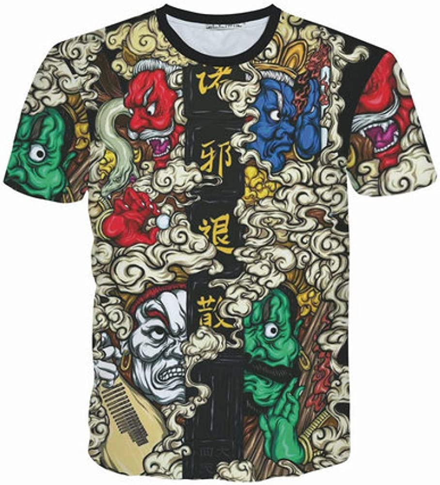 CZPF Men/'s Compression Shirt Mens Round Neck 3D Digital Personality Printed Short-Sleeved T-Shirt