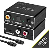 Tiancai Audio Adapters for HDMI ARC or Toslink or Coaxial to 3.5Jack and R//L and Toslink Optical//SPDIF 192KHz Mutifunctional Digital to Analog Audio Converter and Coaxial