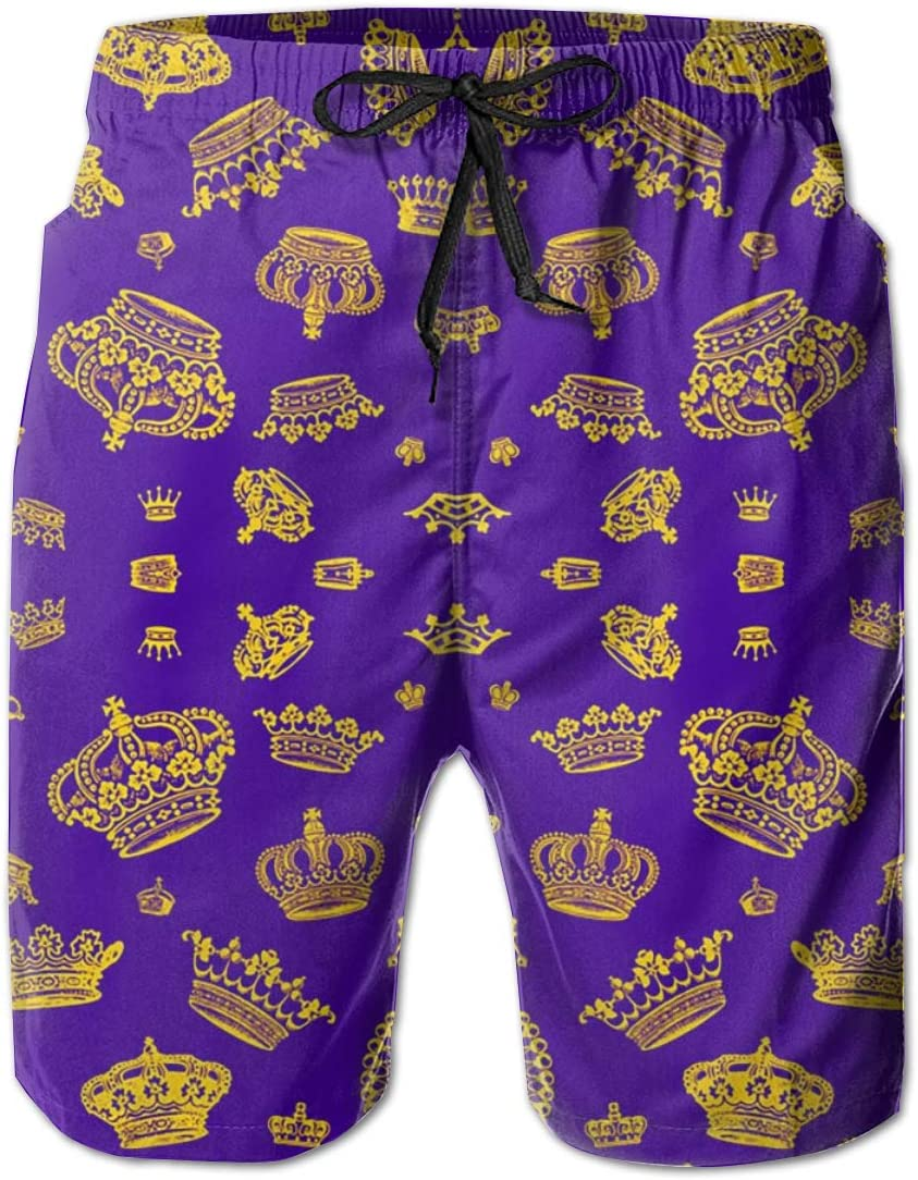 Gold On Purple Mens Beach Swimming Trunks Boxer Brief Swimsuit Swim Underwear Boardshorts with Pocket Fdkis Royal Crowns
