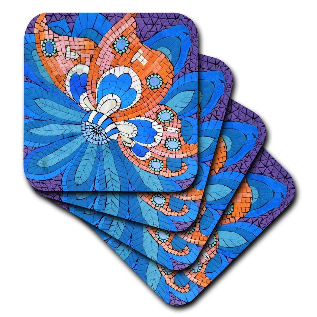 Set of 8 3dRose CST/_35018/_2 Blue /& Orange Mosaic Soft Coaster