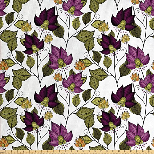 - Ambesonne Batik Decor Fabric by The Yard, Vibrant Floral Pattern with Petals and Ornate Leaves Bouquet Nature Themed Print, Decorative Fabric for Upholstery and Home Accents, Purple and Green