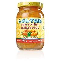 Lol-Tun RH029 Rajas de Chiles Habaneros en Escabeche, Sabor Picante Intenso, 238 g