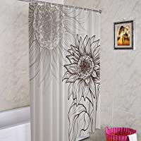Batmerry Sunflower Flower Decorative Shower Curtain, Black and White Sunflower Sketch Design Shower Curtain Cute Long…