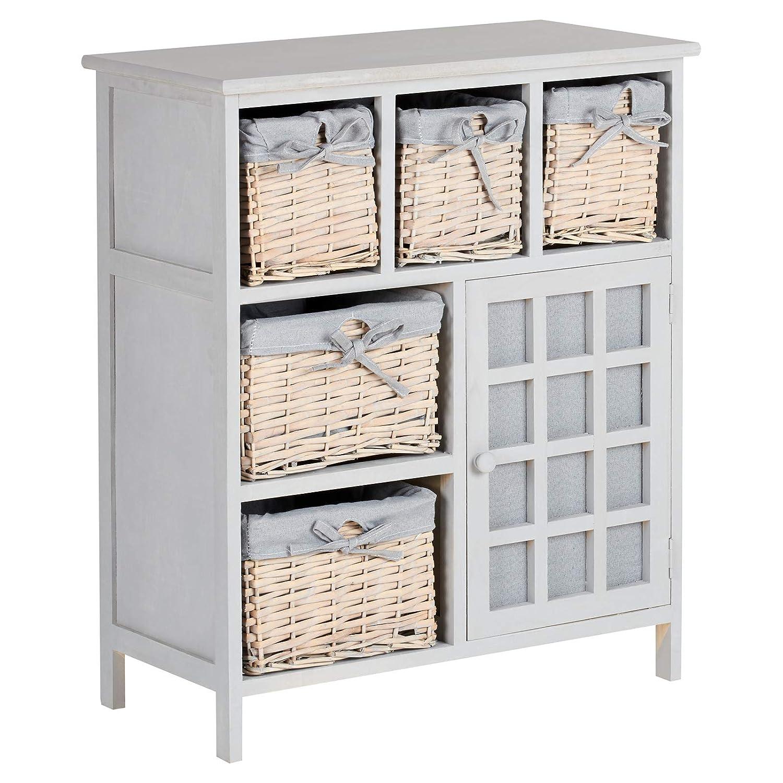 Hartleys Grey Farmhouse Storage Unit with Wicker Baskets